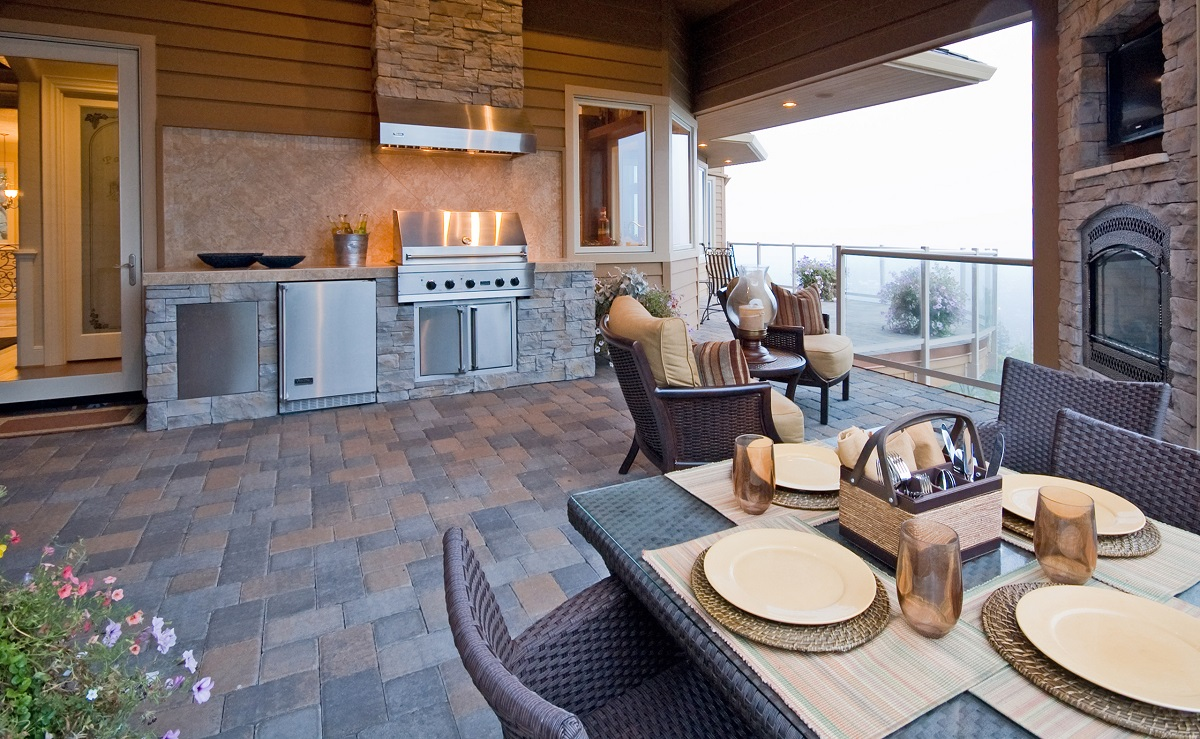 Beautiful Outdoor Patio with Grill and Fireplace